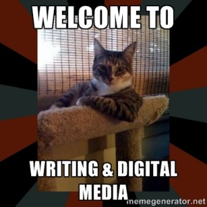 Meme of the Most Interesting Cat in the World, with the caption Welcome to Writing & Digital Media