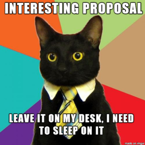 Cat wearing a tie, with the caption, Interesting proposal. Leave it on my desk. I need to sleep on it.