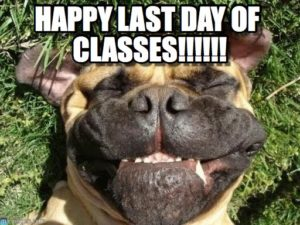 Dog with goofy grin, with the caption, Happy Last Day of Classes!!!!!!
